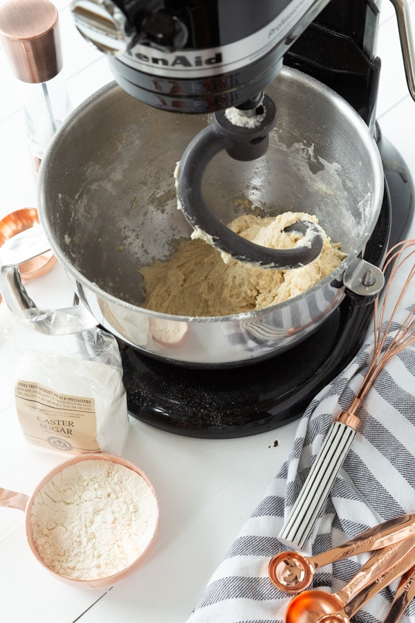 Croissant dough in a stand mixer