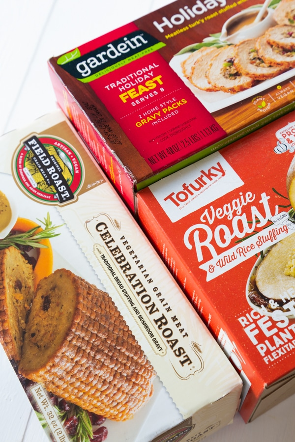 A box of Tofurky holiday roast, Field Roast Celebration Roast, and Gardein Holiday Roast
