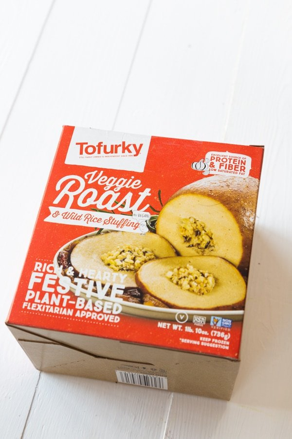 A box of Tofurky Plant-Based Roast with stuffing
