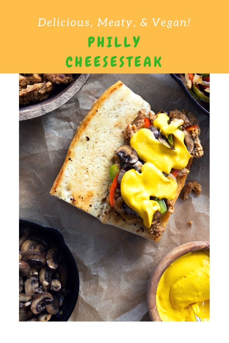 Meaty, flavorful, and vegan Philly Cheesesteak! The ultimate game day food! #vegan #phillycheesesteak #gamedayfood