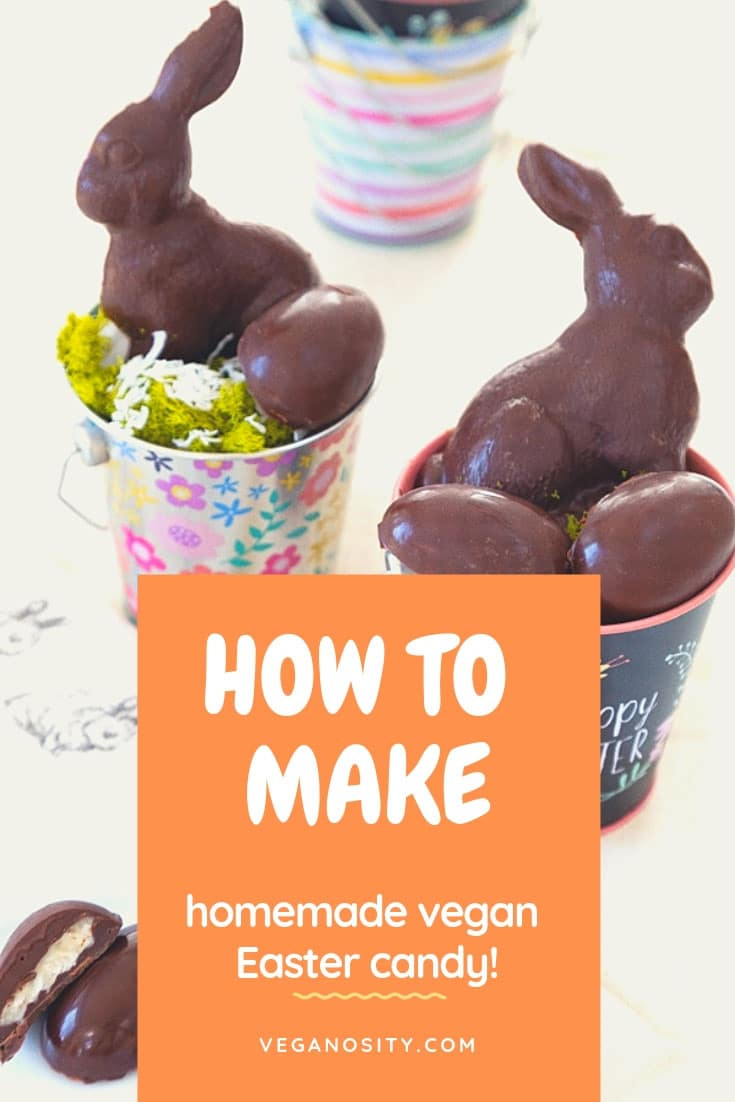 Learn how to make the easiest vegan chocolate filled Easter candy from scratch! #vegan #Easter #candy