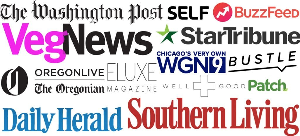 featured in washington post, veg news, eluxe magazine, well and good, WGN, southern living, daily herald, self