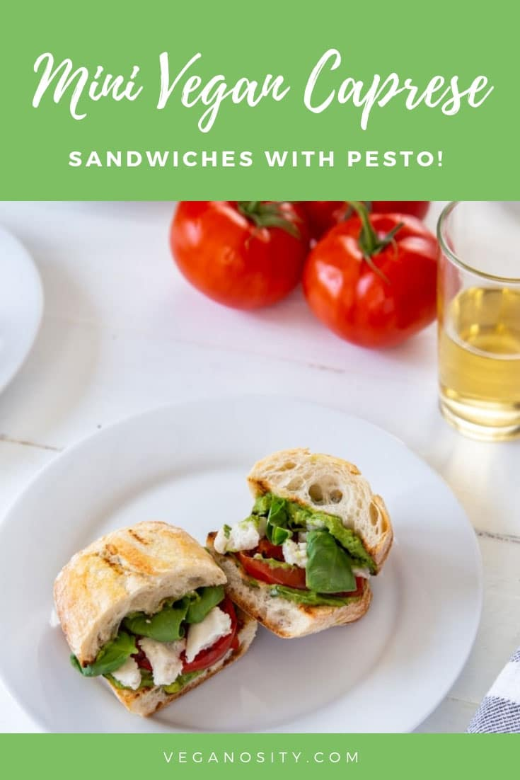 Vegan Caprese Sandwiches with oil-free pesto! The perfect appetizer or light meal. #vegan #sandwich #caprese