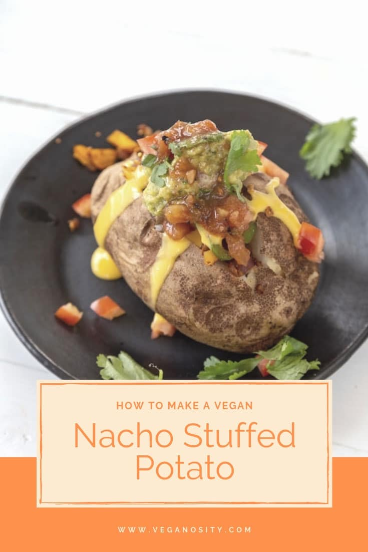Vegan Nacho Stuffed Baked Potatoes are the perfect alternative to tacos. Easy to make and delicious Mexican stuffed potatoes! #vegan #potatoes #nachos