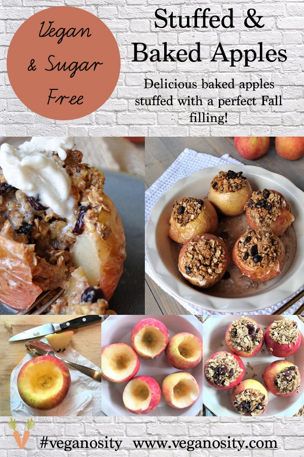 A PInterest pin for baked apples with four photos of the apples in various stages of making them.
