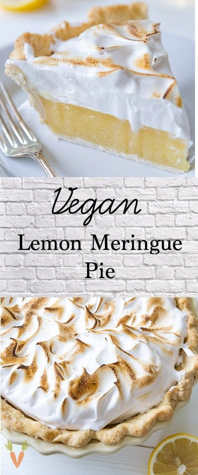 A Pinterest pin for lemon meringue pie with a picture of a slice and a whole pie.