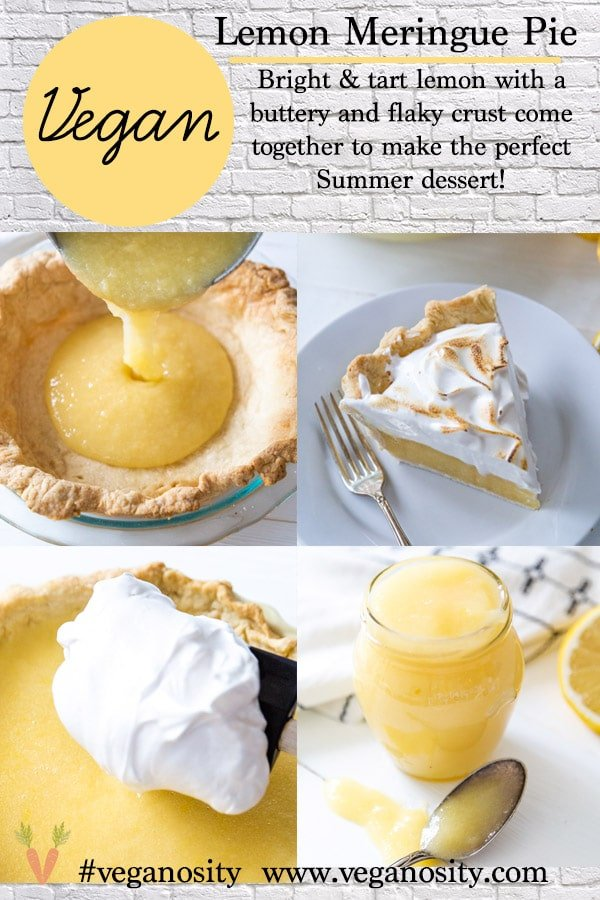 A PInterest pin for lemon meringue pie with four pictures of the pie.