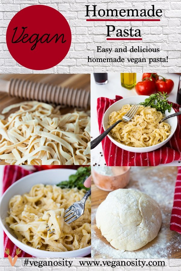 A Pinterest pin with four pictures of homemade pasta.