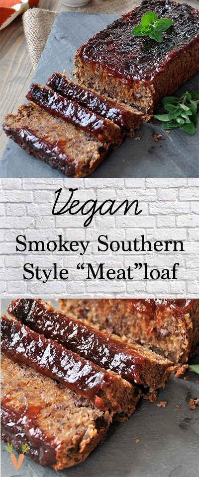 A PInterest pin for vegan meatloaf with a far and close up picture of the loaf.