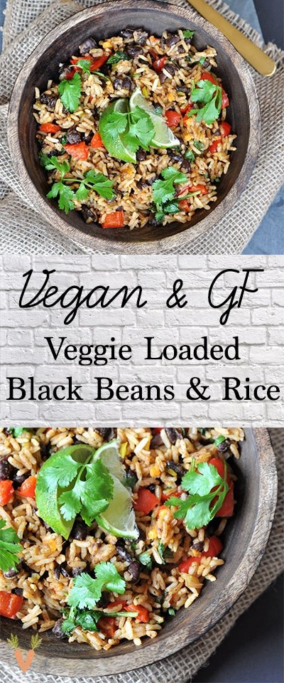 A Pinterest pin with two pictures of veggie loaded beans and rice in a wood bowl.