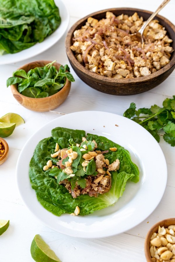 A lettuce wrap on a white plate with a bowl of tofu and other ingredients next to it.