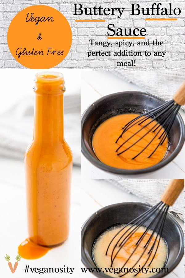 A Pinterest pin for vegan buffalo sauce with three pictures of the sauce.