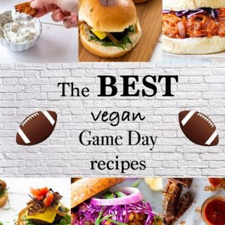 A collage of vegan tailgate recipes with pictures of BBQ and burgers.