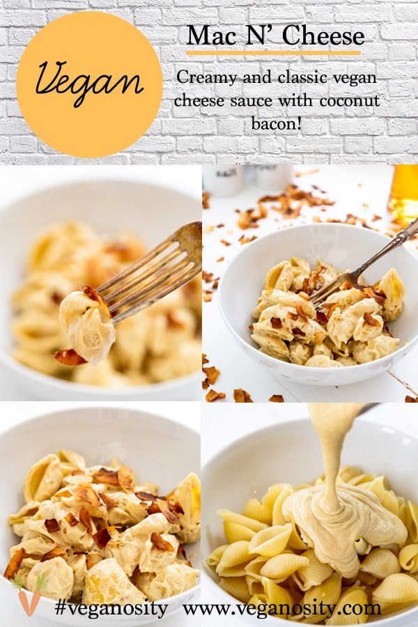 A Pinterest pin for macaroni and cheese with four pictures of the mac and cheese.