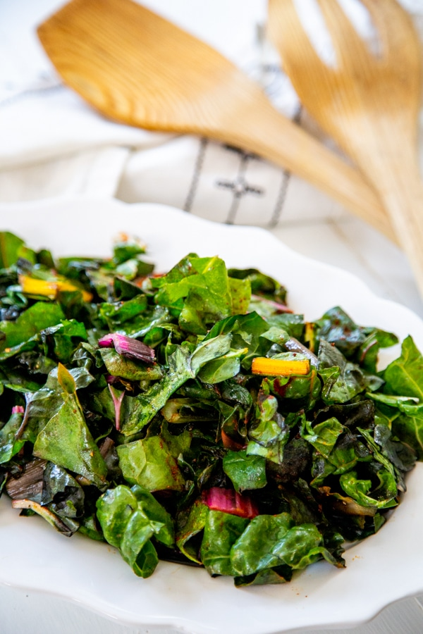 Easy Sauteed Rainbow Swiss Chard Veganosity