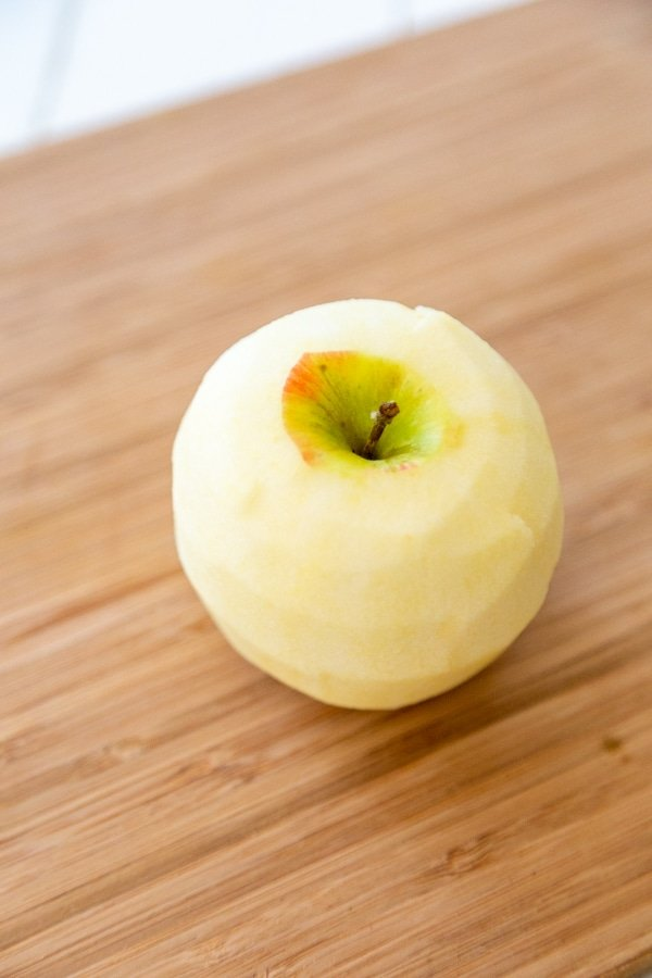A peeled apple.