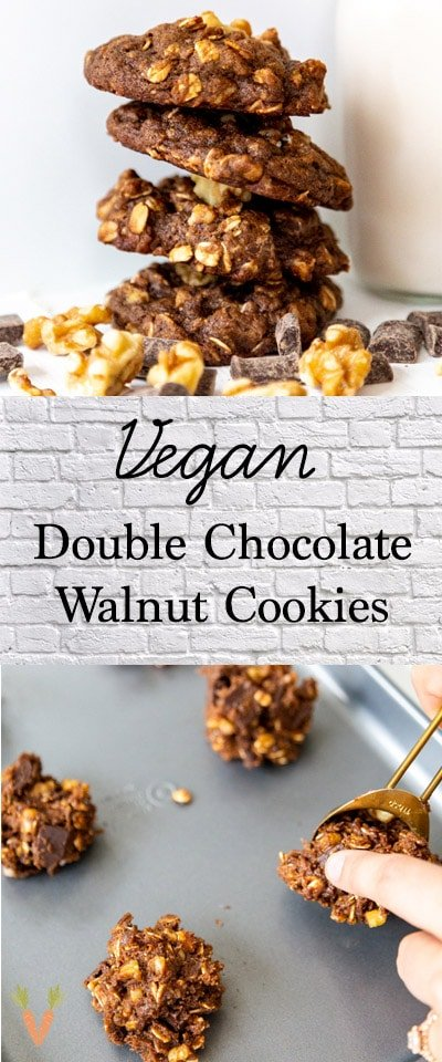 A Pinterest pin for vegan double chocolate cookies with walnuts.