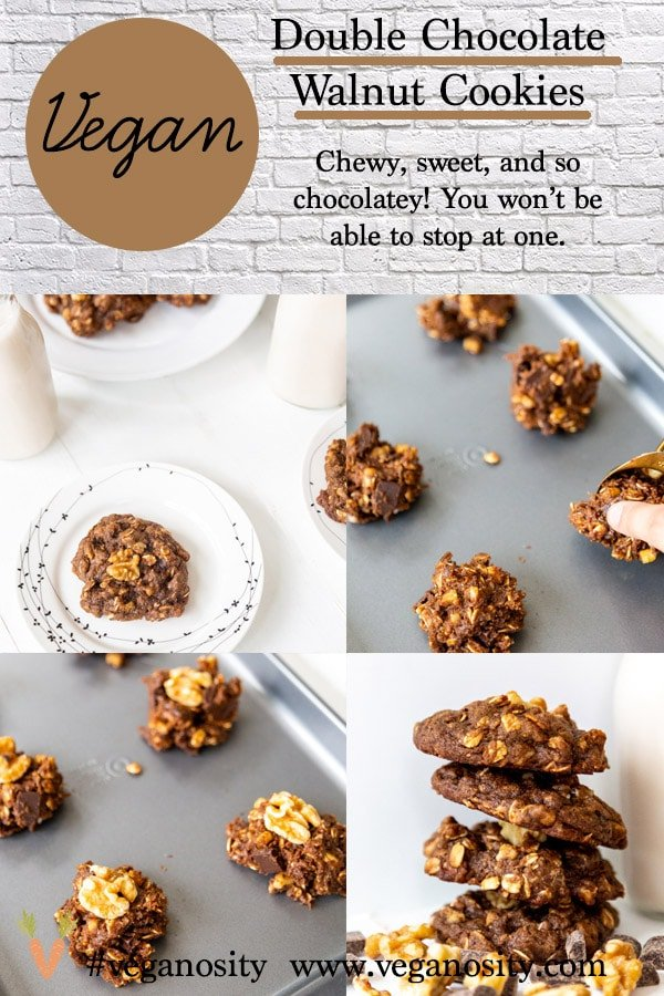 A PInterest pin for double chocolate vegan cookies with four pictures of the cookies.