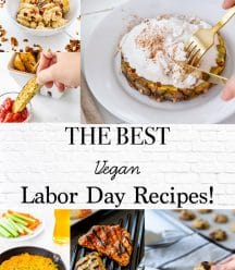 A Pinterest pin for a vegan Labor Day recipe roundup with 5 pictures of recipes.