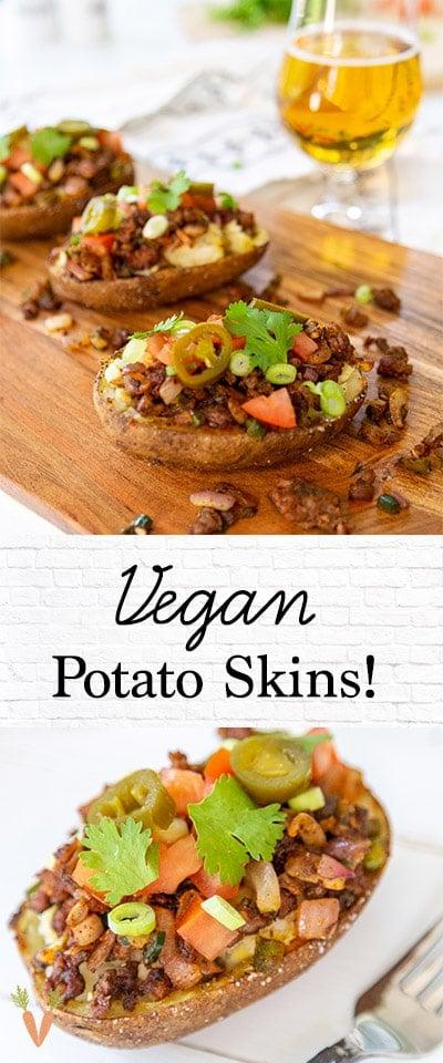 A Pinterest pin for Vegan potato skins.