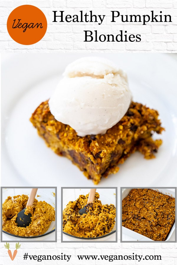 A PInterest pin for vegan pumpkin chocolate chip blondies with four pictures of the blondies.