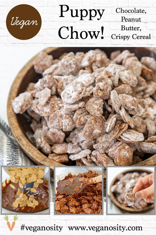 A Pinterest pin for vegan puppy chow with 4 pictures of the snack food.