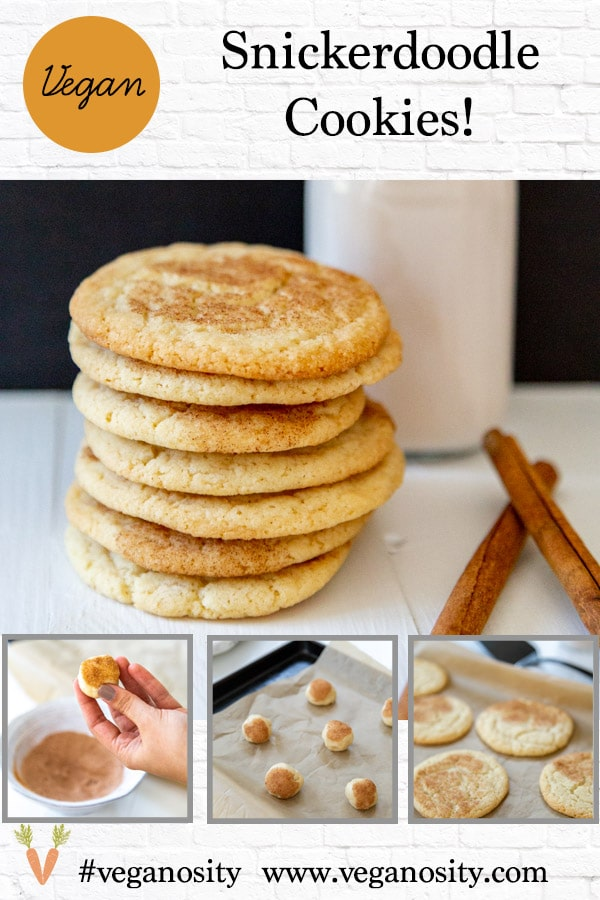 A PInterest pin for vegan snickerdoodle cookies with four pictures of the cookies.