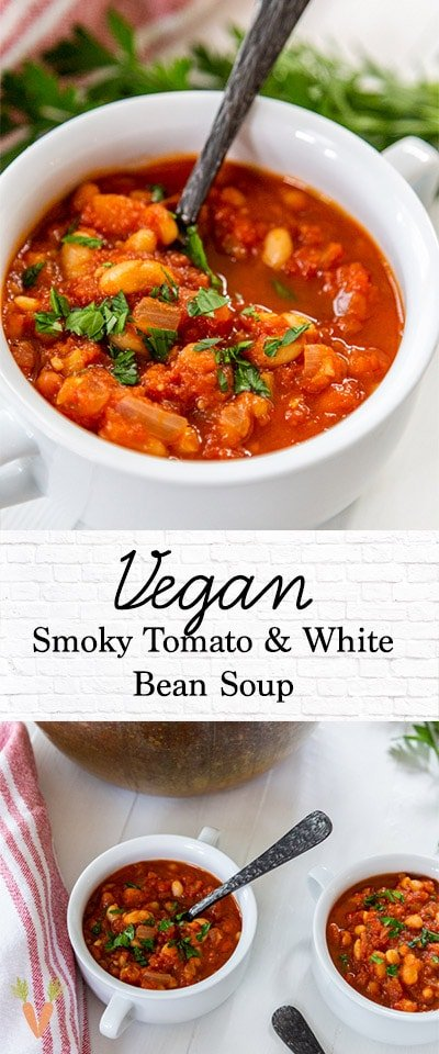 A Pinterest pin for Smoky Tomato and White Bean Soup.