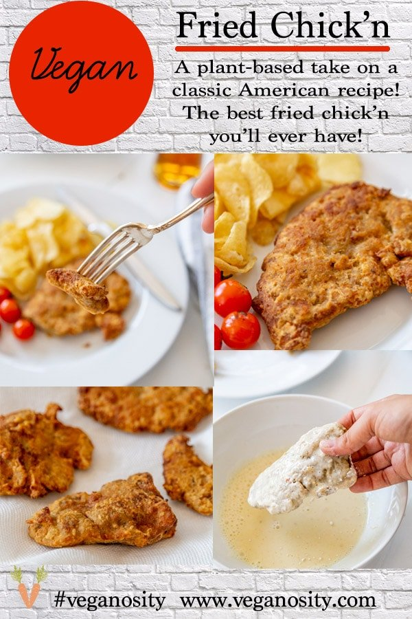 A PInterest pin for vegan fried chicken with four pictures of the chicken.
