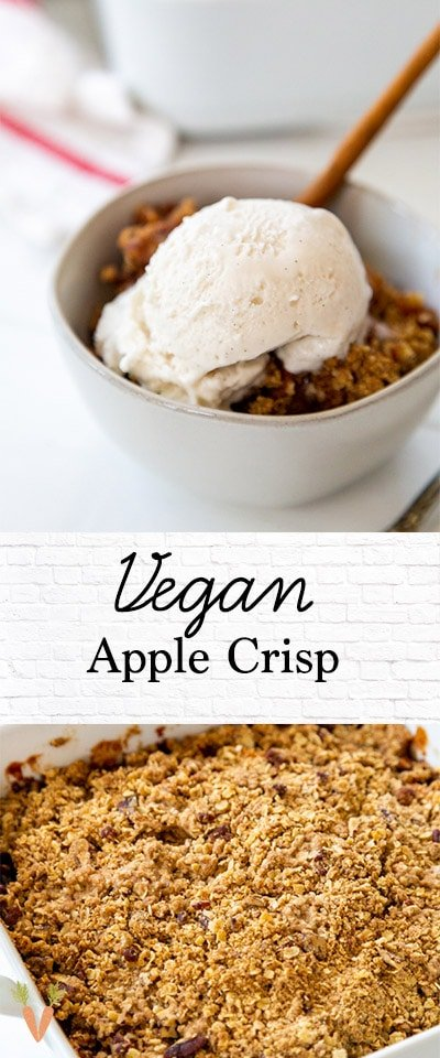 A Pinterest pin for apple crisp with 2 pictures of the crisp/