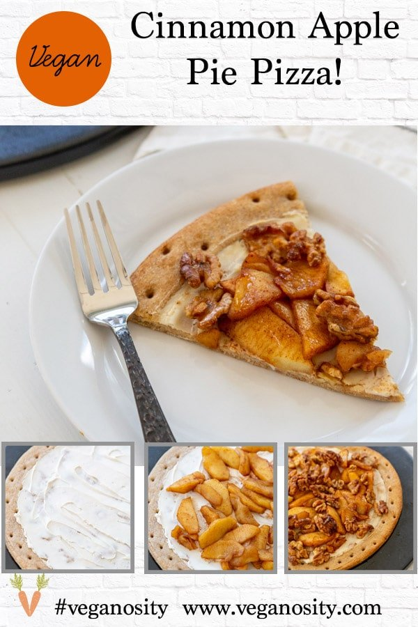 A Pinterest pin for apple pie pizza with four pictures of the pie.