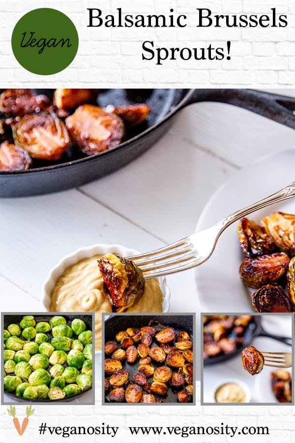 A PInterest pin for roasted Brussels sprouts with 4 pictures of the sprouts.