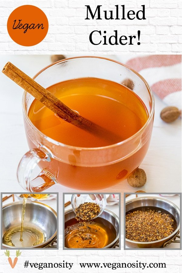 A Pinterest Pin for mulled cider with four pictures of the cider.
