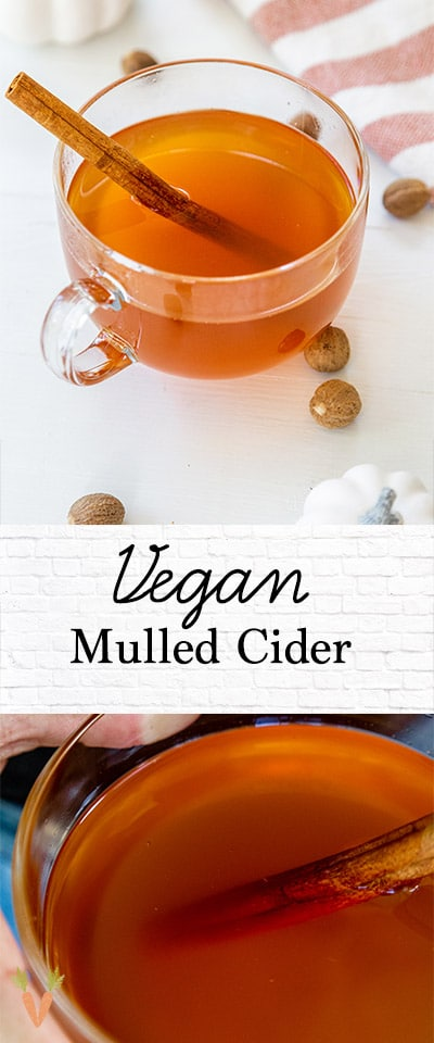 A Pinterest Pin for mulled cider with two pictures of the cider.