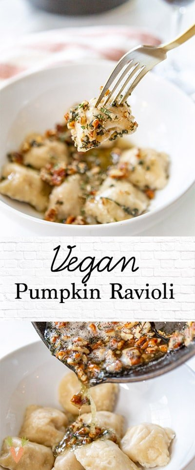A PInterest pin for vegan pumpkin ravioli with 2 pictures of the recipe.