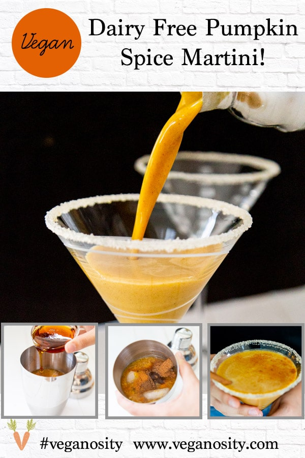 A PInterest pin for a pumpkin spice martini with four pictures of the martini.