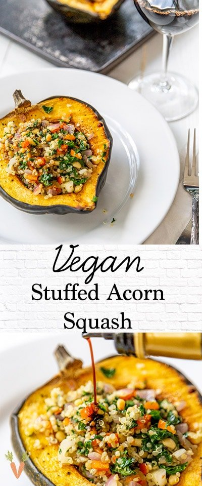 A PInterest pin for stuffed acorn squash with 2 pictures of the squash.
