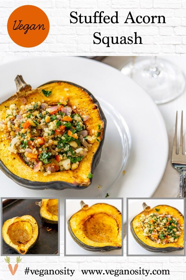 A Pinterest pin for stuffed squash with four pictures of the dish.