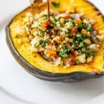 Roasted Stuffed Acorn Squash with Quinoa and Kale