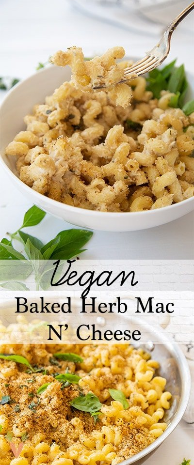 A PInterest pin for vegan mac 'n' cheese with 2 pictures of the recipe.