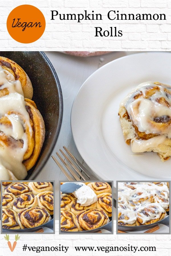 A Pinterest pin for vegan pumpkin cinnamon rolls with four pictures of the rolls.