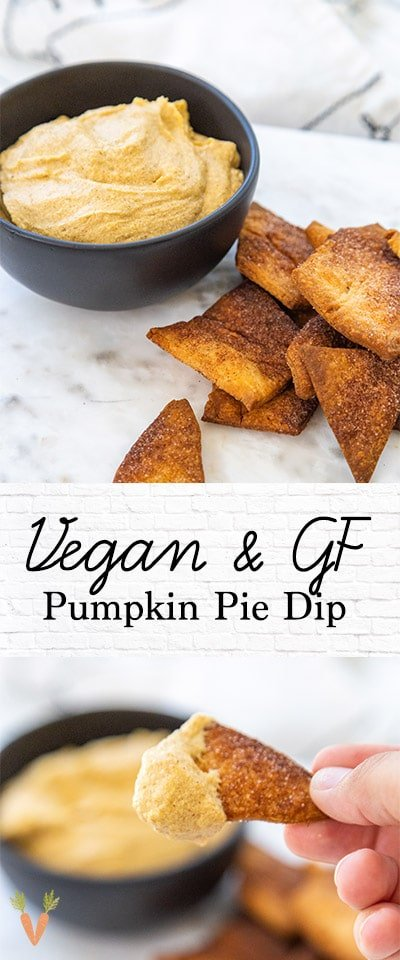 A Pinterest pin for vegan pumpkin dip with 2 pictures of the dip.