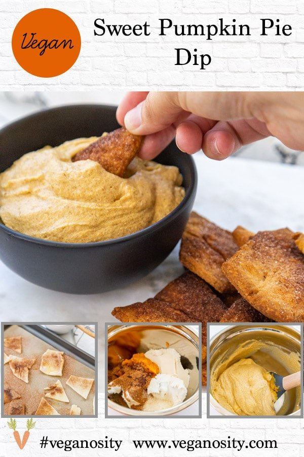 A Pinterest pin for vegan pumpkin dip with four pictures of the dip.