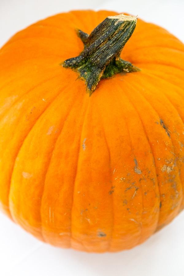 A large orange pumpkin on a white table.