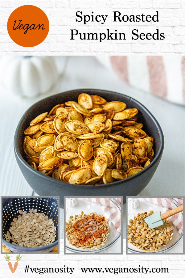 A Pinterest pin for roasted pumpkin seeds with 4 pictures of the seeds.
