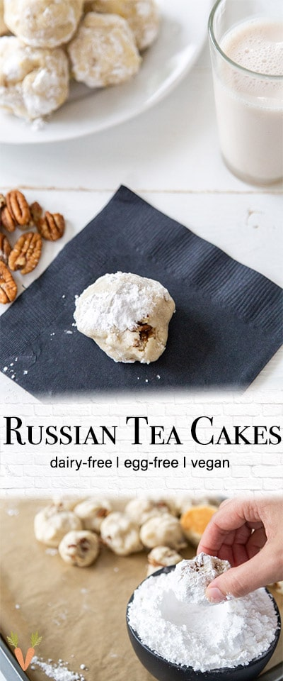 A Pinterest pin for vegan Russian Tea Cake cookies with two pictures of the cookies.