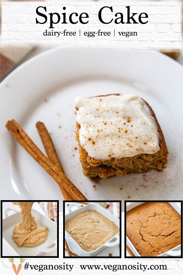 A Pinterest pin for vegan spice cake with 4 pictures of the cake.