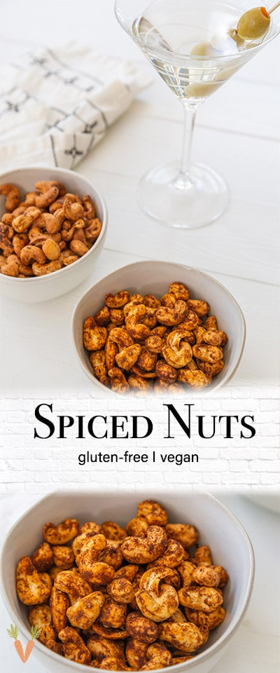 A PInterest pin for roasted spiced and smoky nuts with 2 pictures of the nuts.