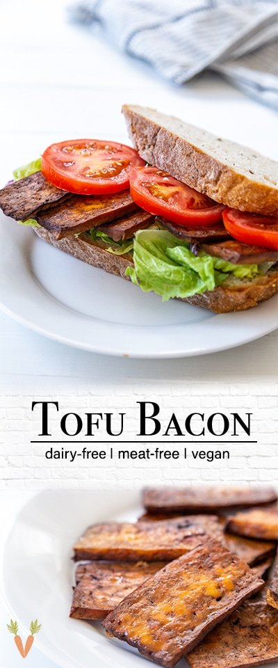 A PInterest pin for tofu bacon with 2 pictures of the bacon in the pin.