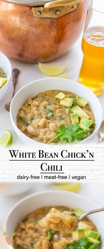 "A Pinterest pin for vegan white bean ""chicken"" chili with 2 pictures of the chili."